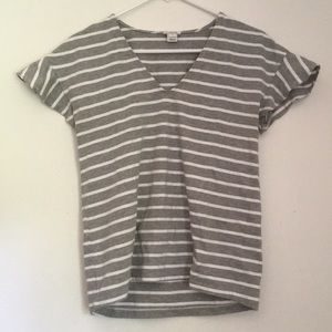 J crew gray white stripe blouse ruffle sleeves S